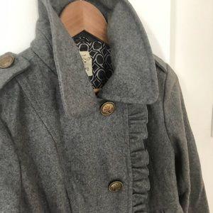 Grey Tulle Ruffles Pea Coat
